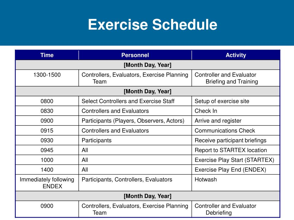 Exercise Schedule
