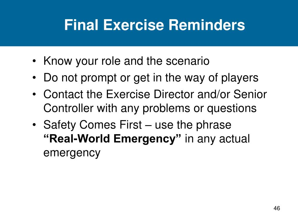 Final Exercise Reminders