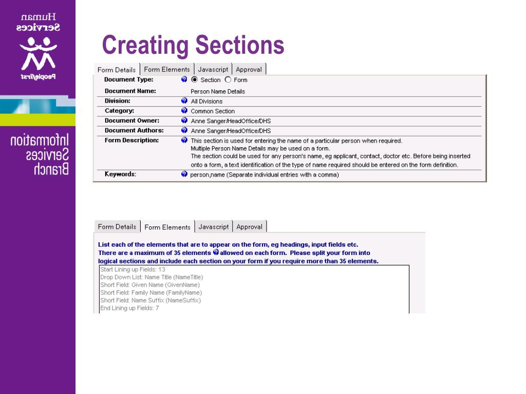 Creating Sections