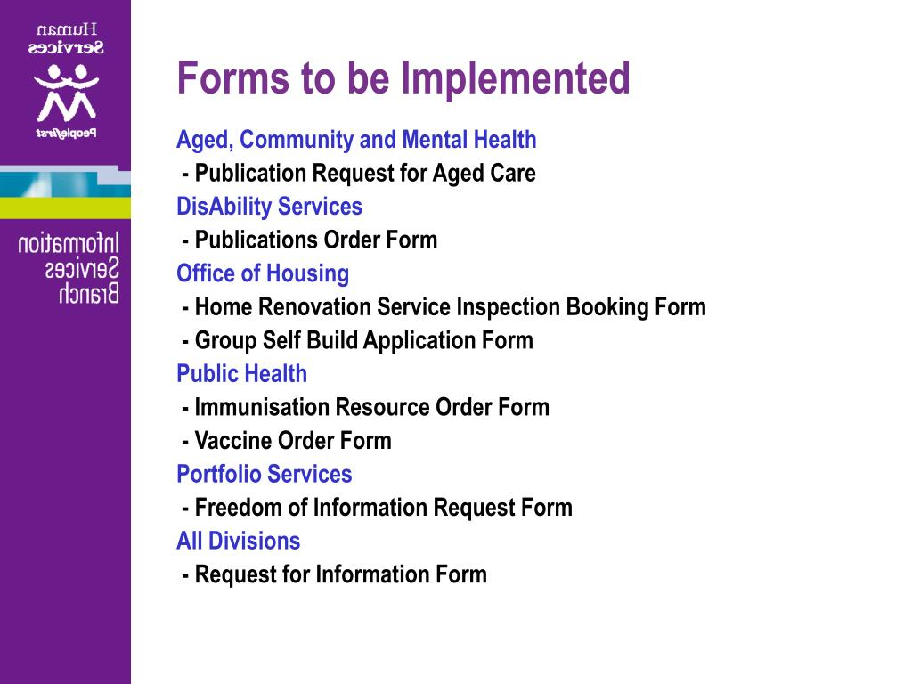 Forms to be Implemented