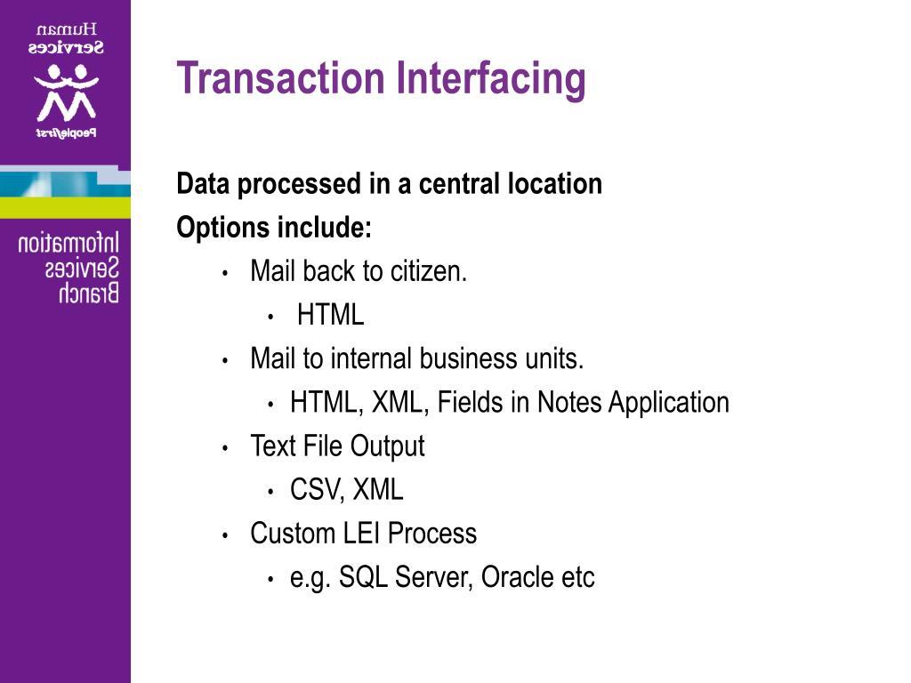 Transaction Interfacing