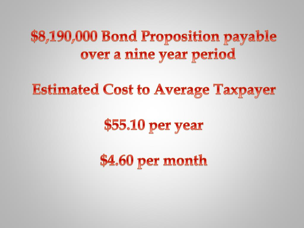 $8,190,000 Bond Proposition payable over a nine year period