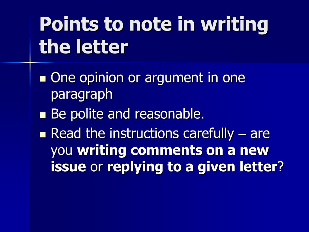 Points to note in writing the letter