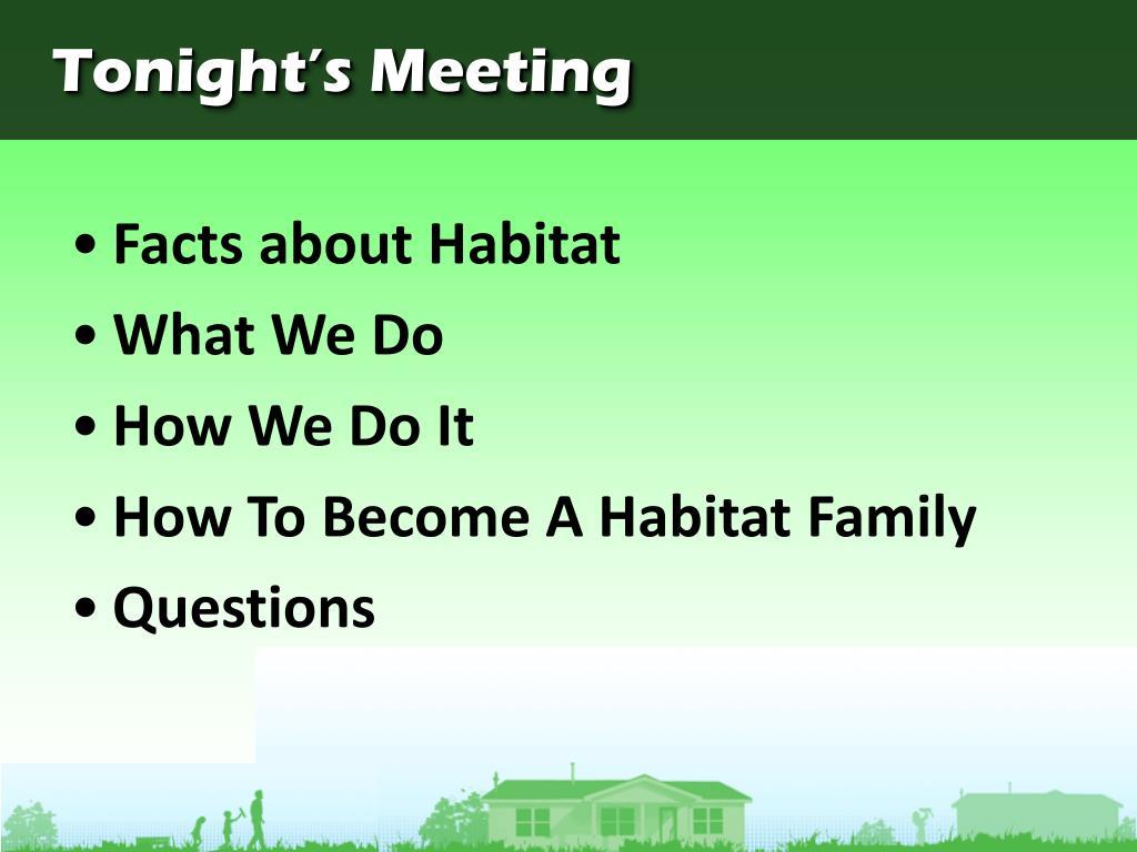 Tonight's Meeting