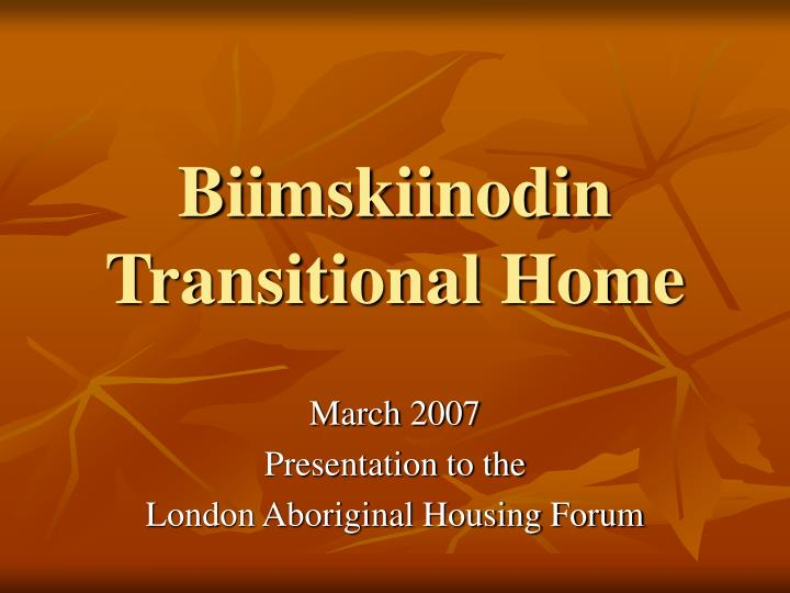 Biimskiinodin transitional home