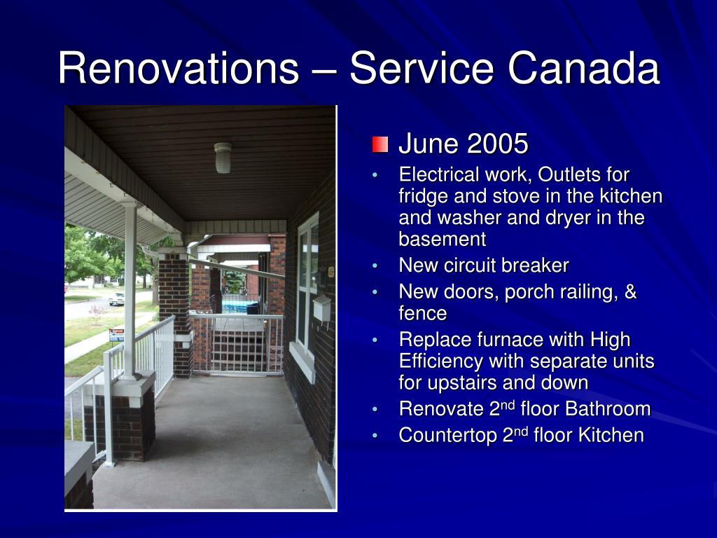 Renovations – Service Canada