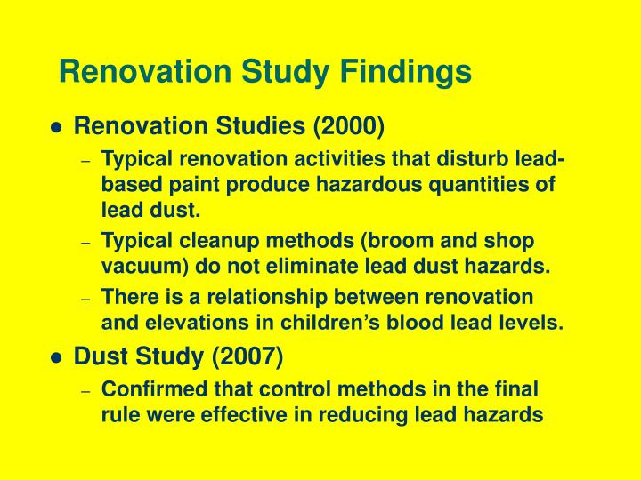 Renovation study findings
