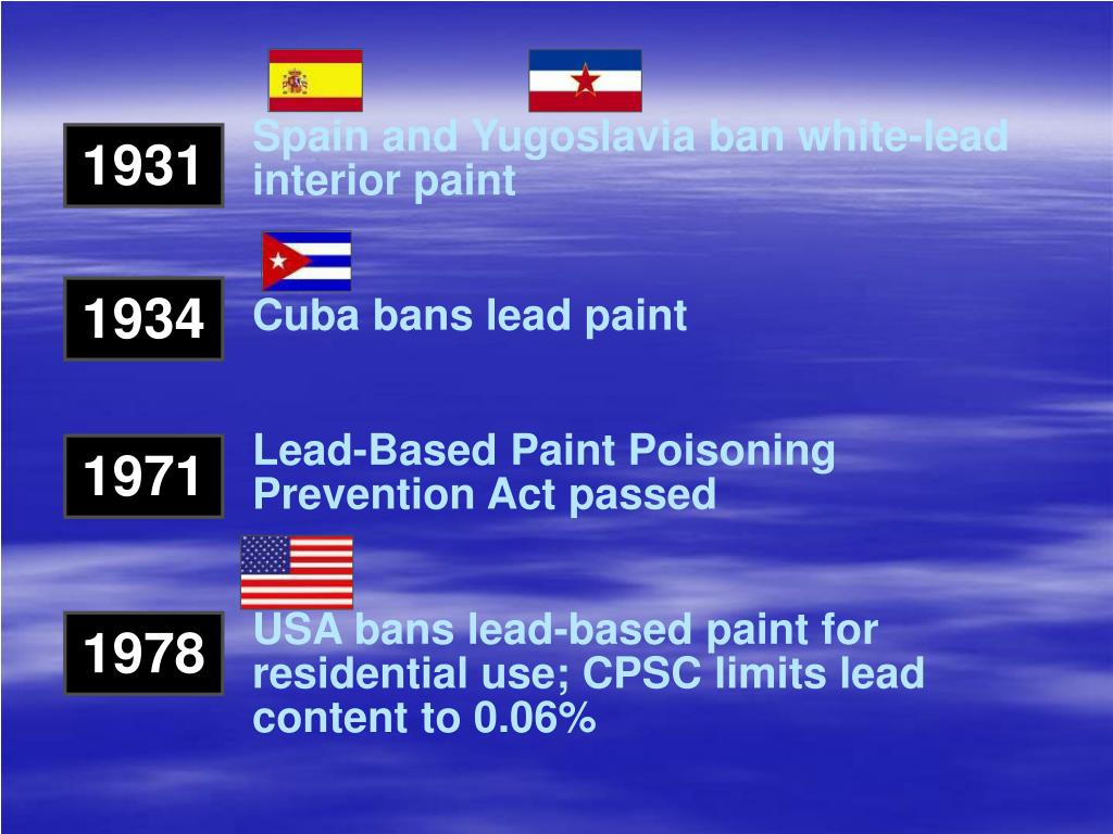Spain and Yugoslavia ban white-lead interior paint