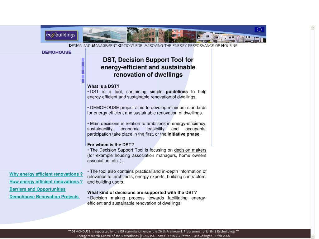DST, Decision Support Tool for