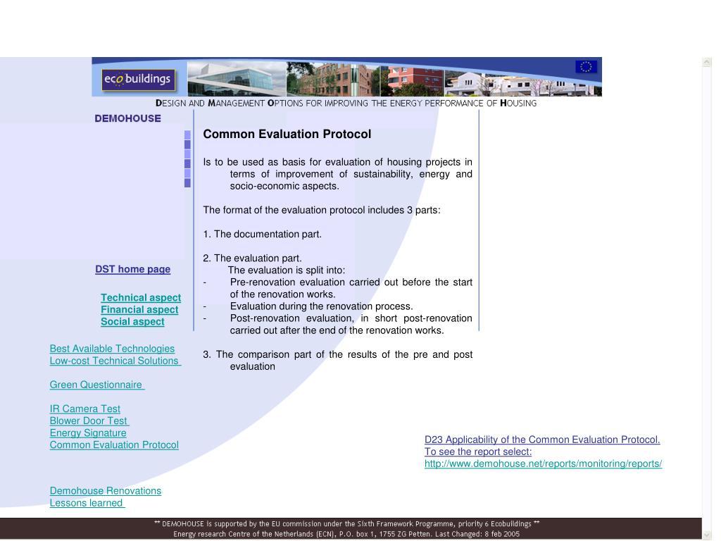 Common Evaluation Protocol