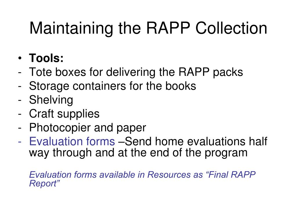 Maintaining the RAPP Collection