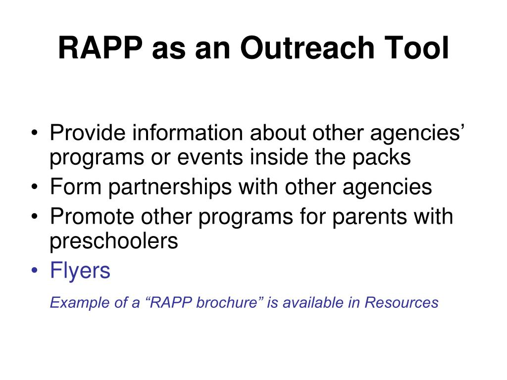 RAPP as an Outreach Tool