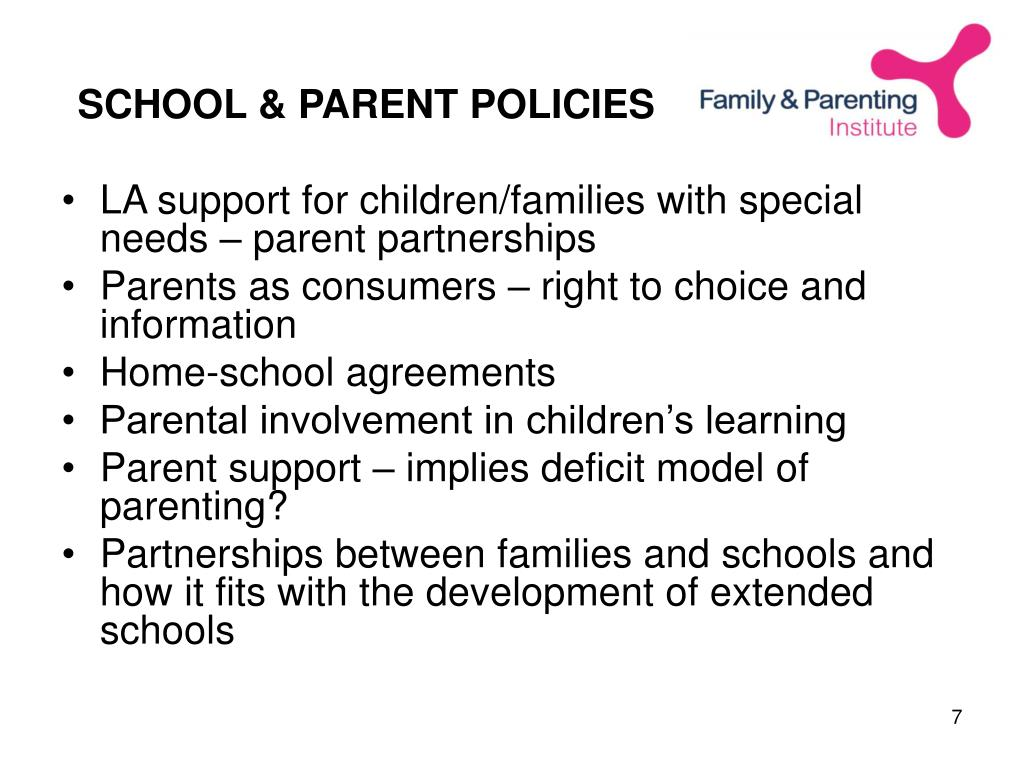 SCHOOL & PARENT POLICIES