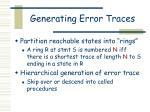 generating error traces