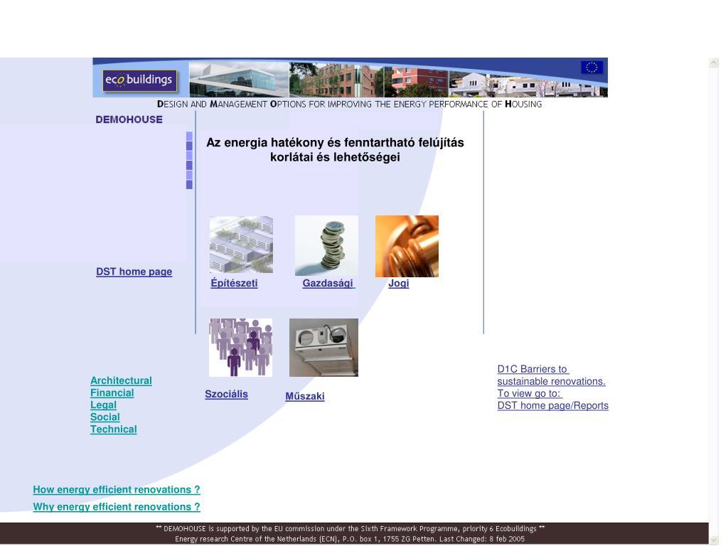 Az energia hatékony és fenntartható felújítás korlátai és lehetőségei