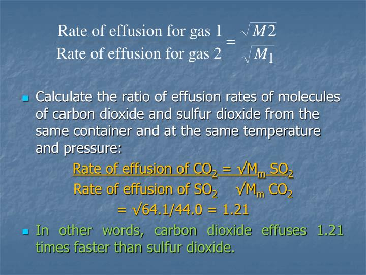 Calculate the ratio of effusion rates of molecules of carbon dioxide and sulfur dioxide from the same container and at the same temperature and pressure: