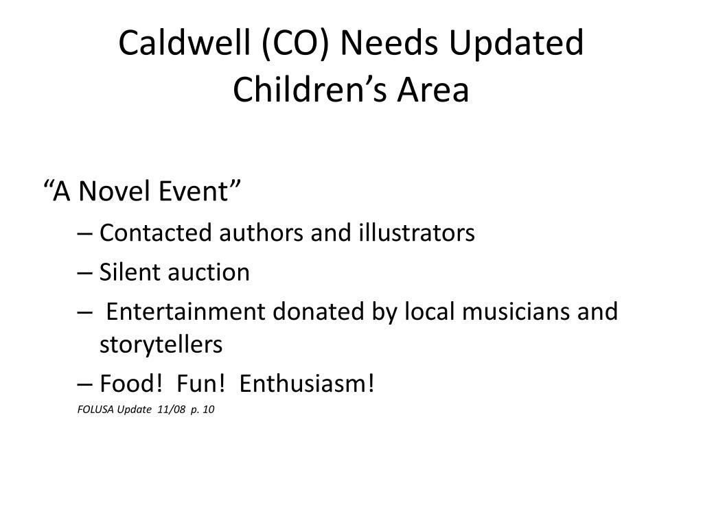 Caldwell (CO) Needs Updated Children's Area