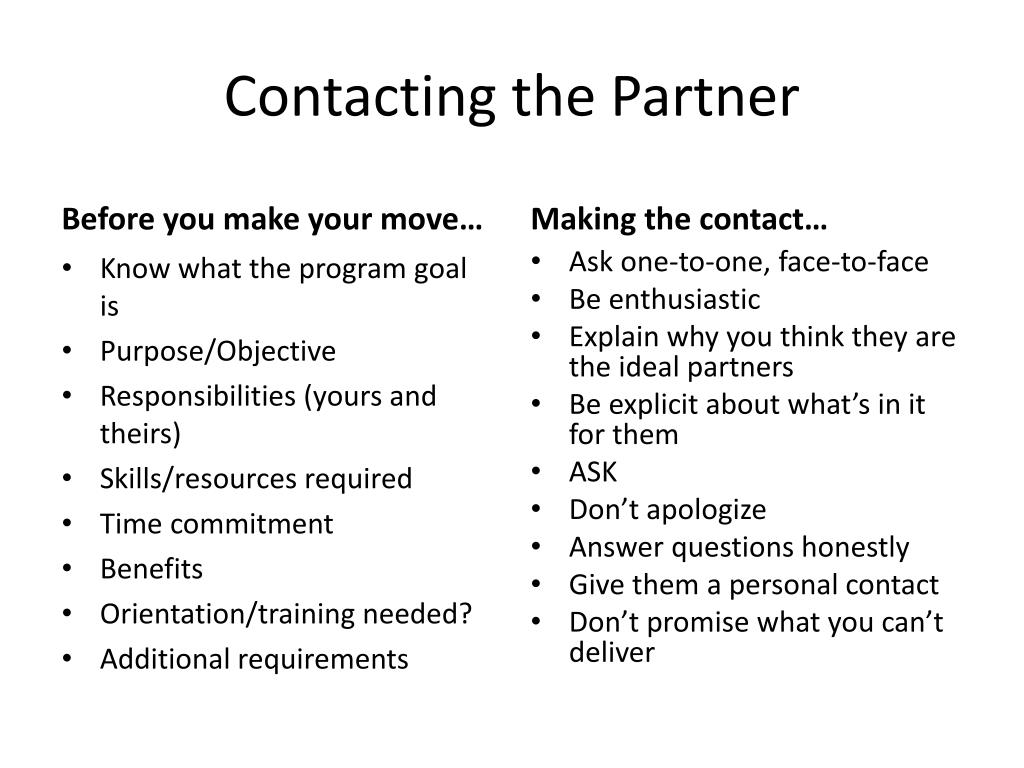 Contacting the Partner