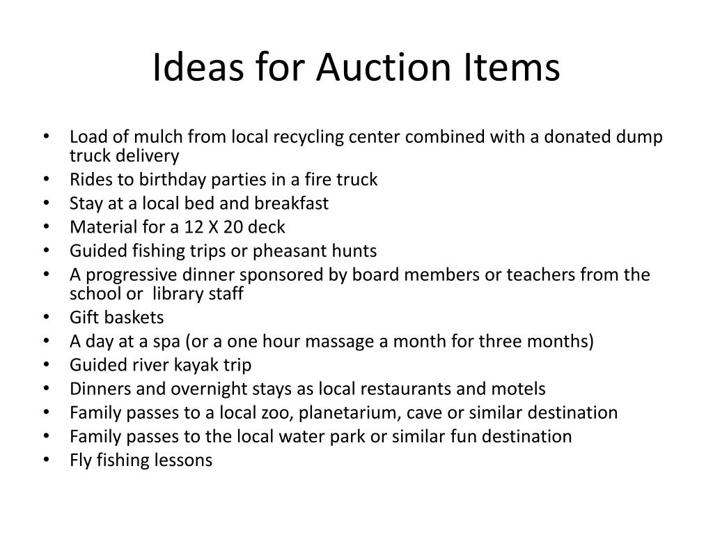 Ideas for Auction Items