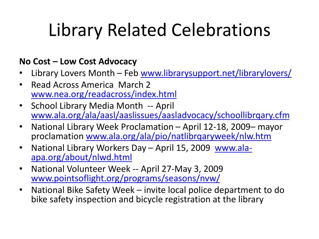 Library Related Celebrations