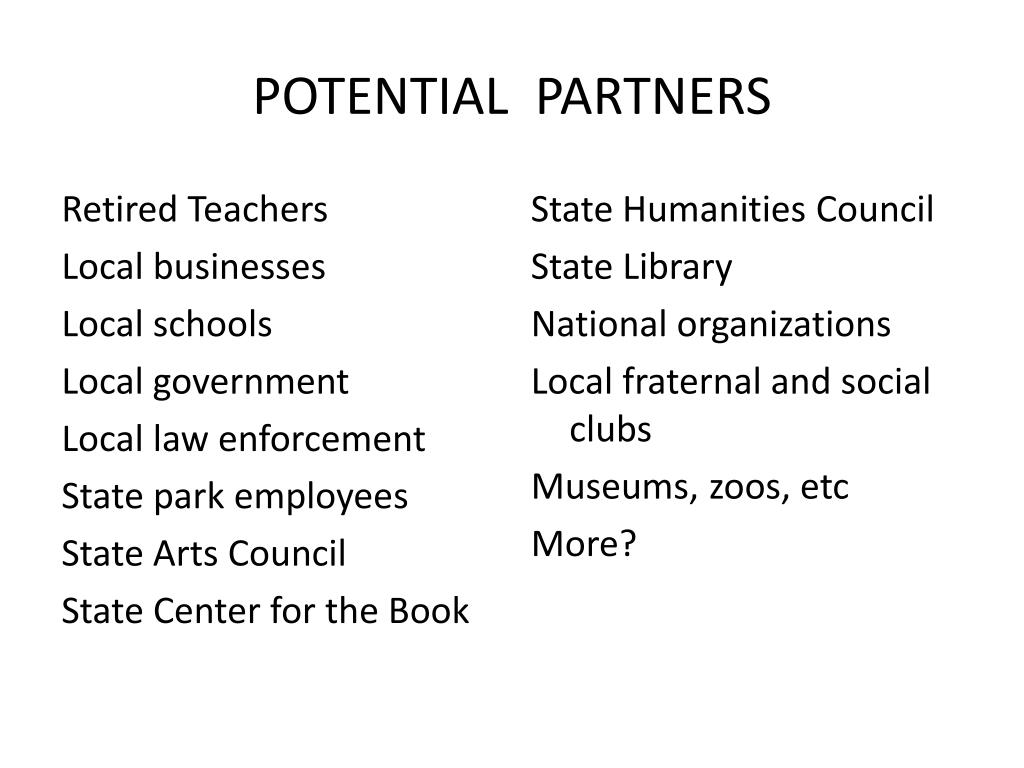 POTENTIAL  PARTNERS