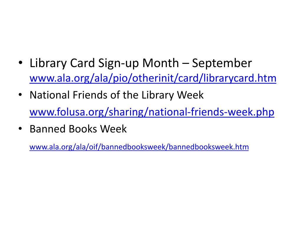 Library Card Sign-up Month – September