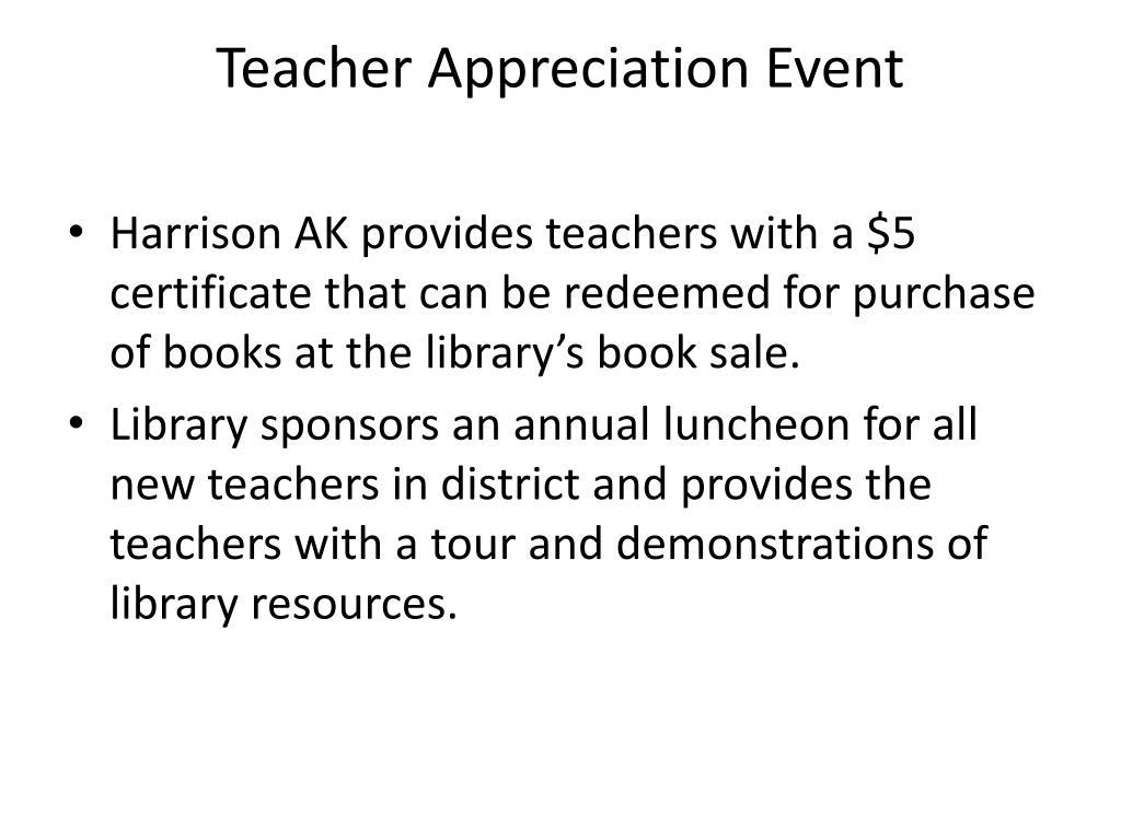 Teacher Appreciation Event