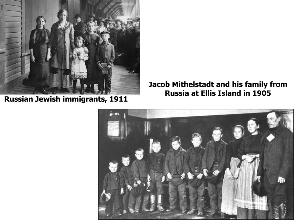 Jacob Mithelstadt and his family from Russia at Ellis Island in 1905