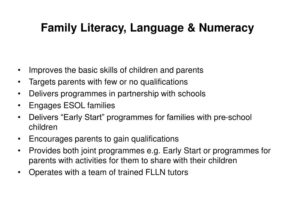 Family Literacy, Language & Numeracy