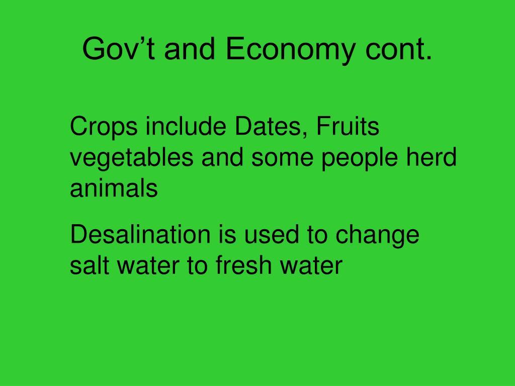Gov't and Economy cont.