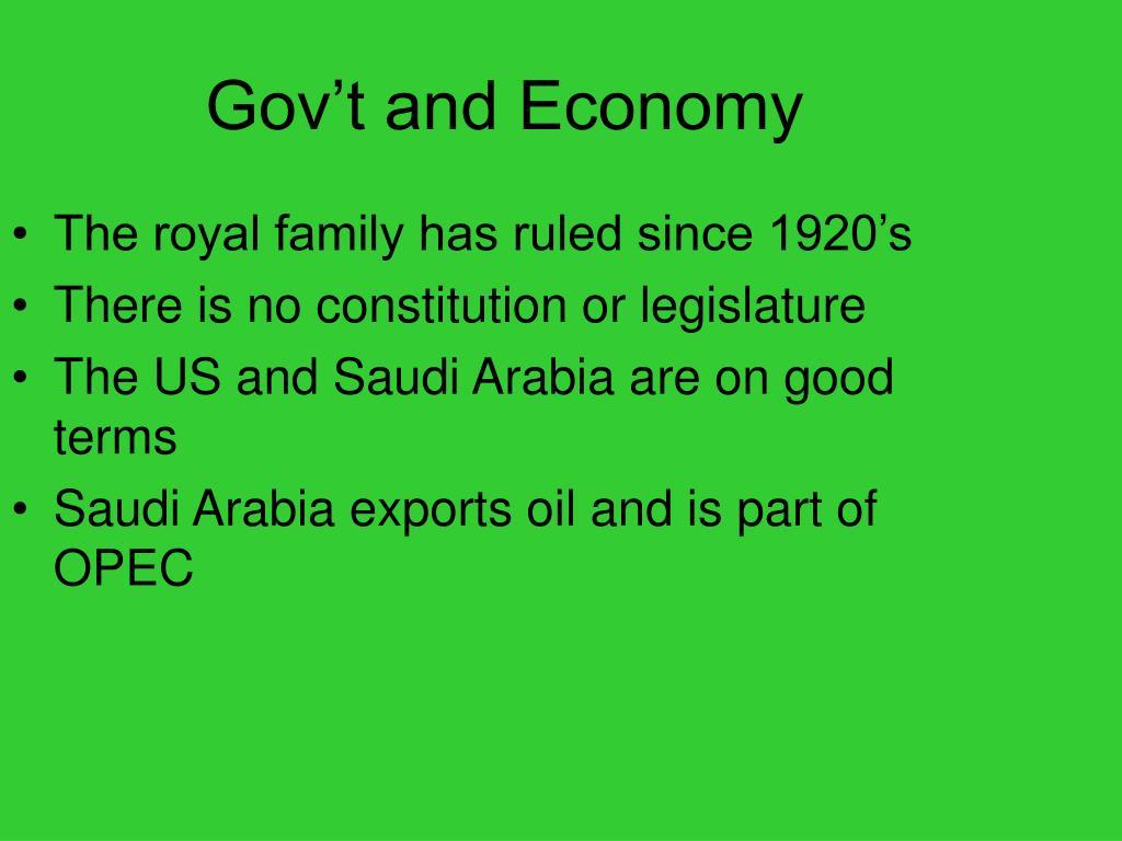 Gov't and Economy