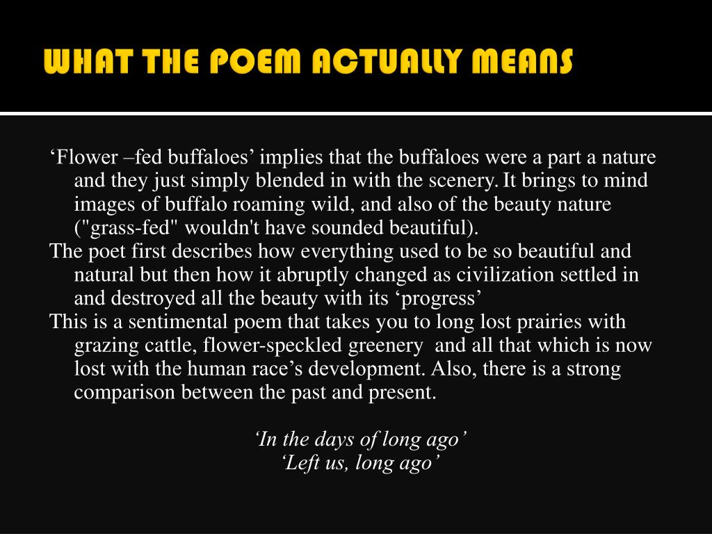 WHAT THE POEM ACTUALLY MEANS