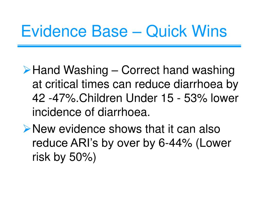 Evidence Base – Quick Wins