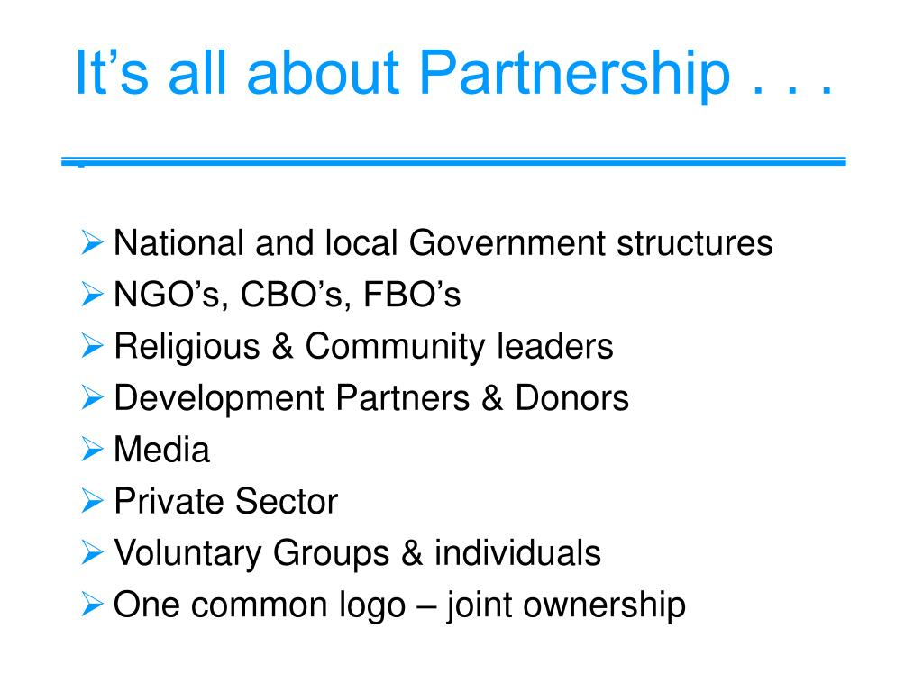 It's all about Partnership . . . .