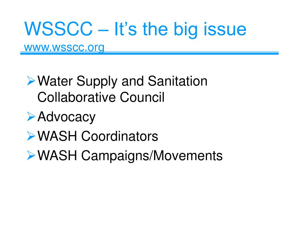 WSSCC – It's the big issue
