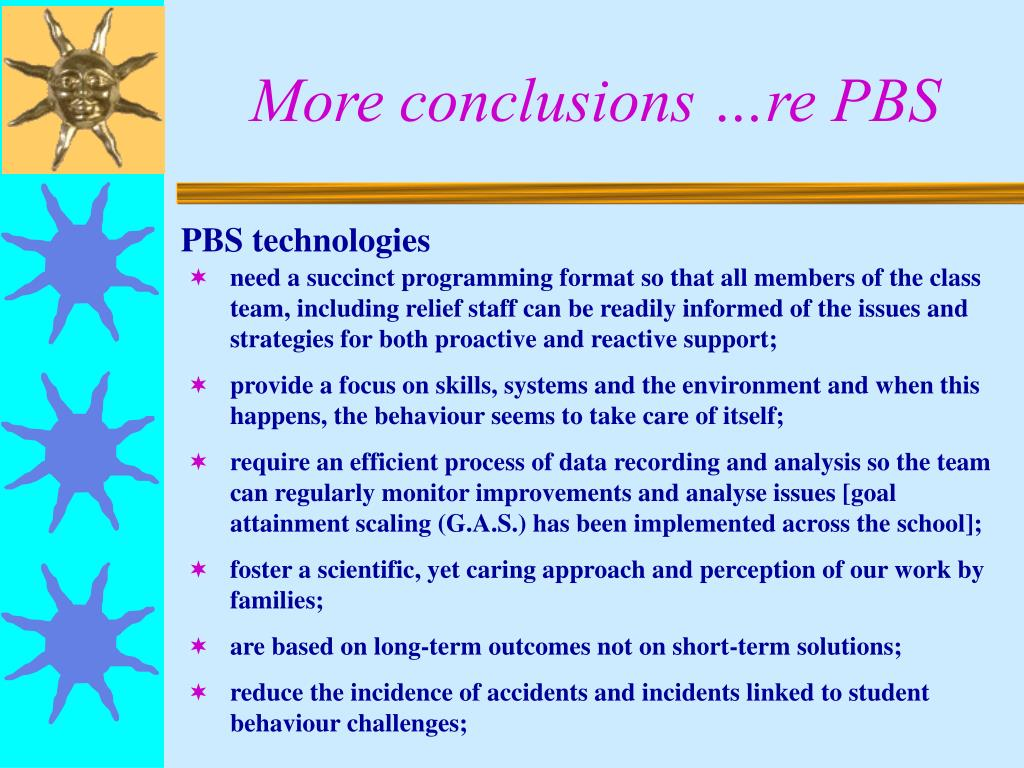 More conclusions …re PBS