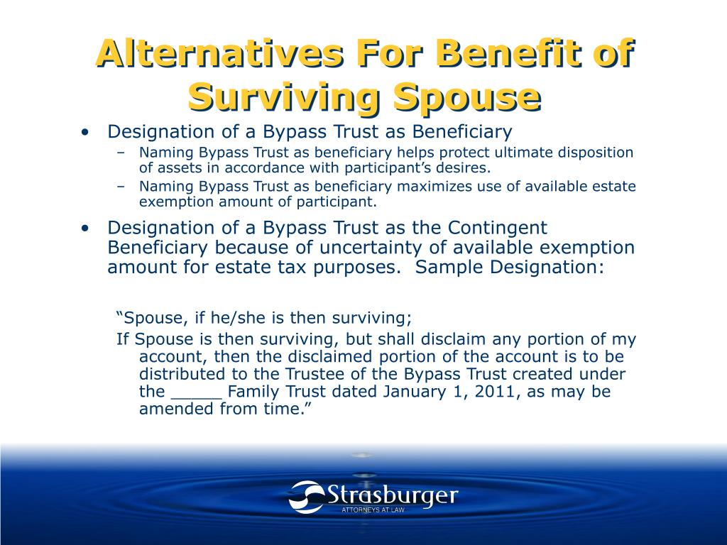 Alternatives For Benefit of Surviving Spouse