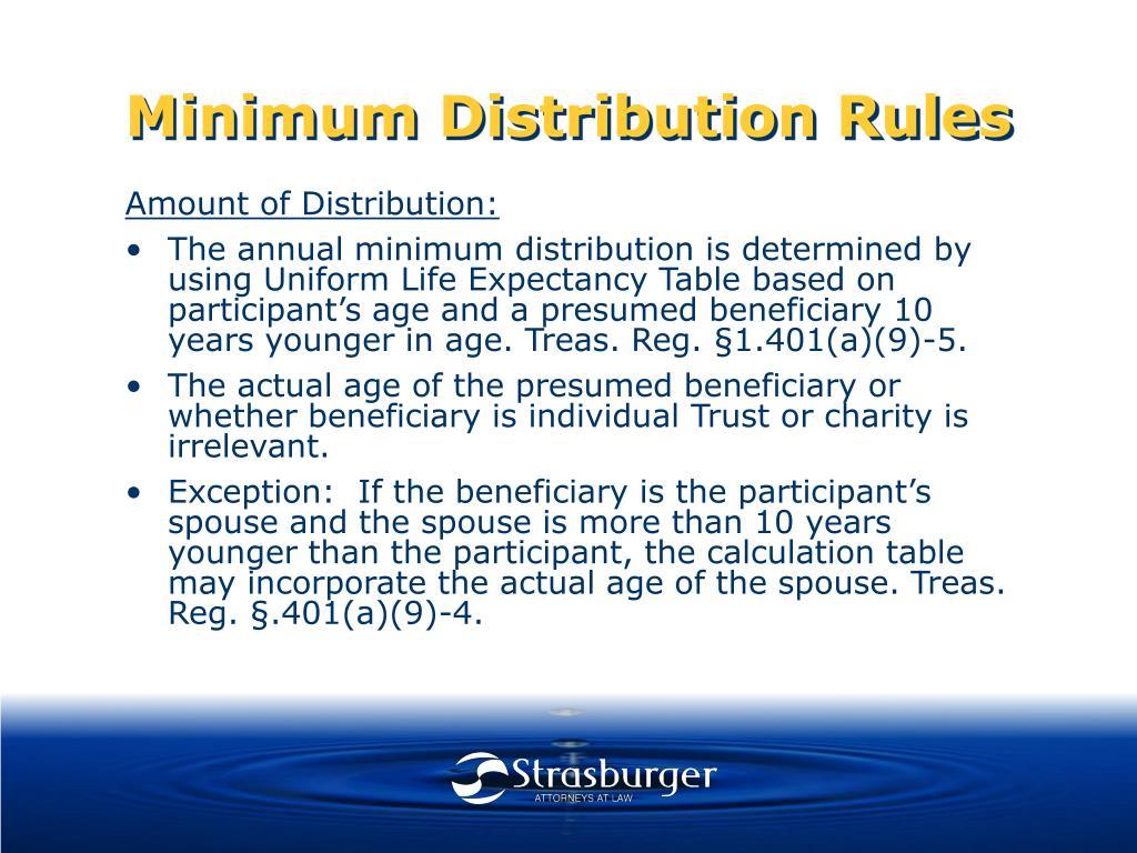 Minimum Distribution Rules