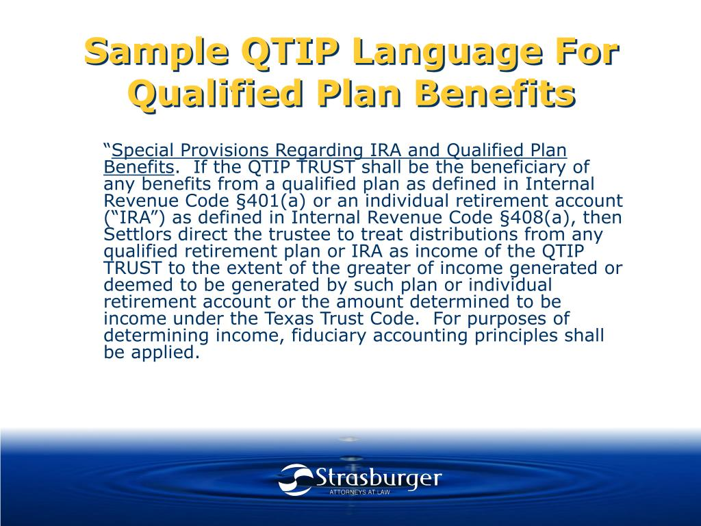 Sample QTIP Language For Qualified Plan Benefits