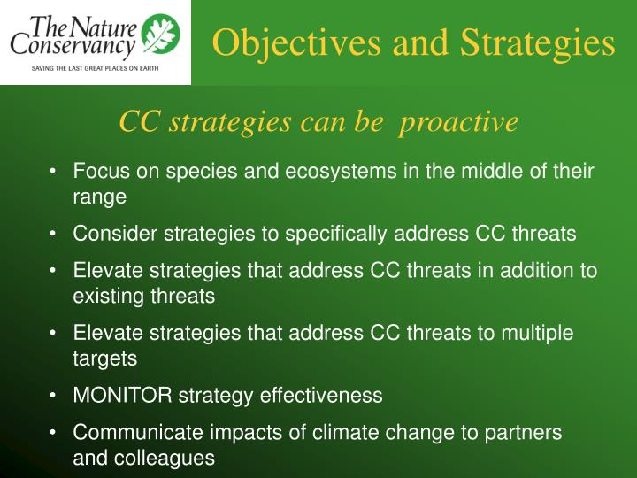 Objectives and Strategies