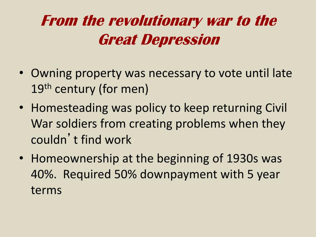 From the revolutionary war to the Great Depression