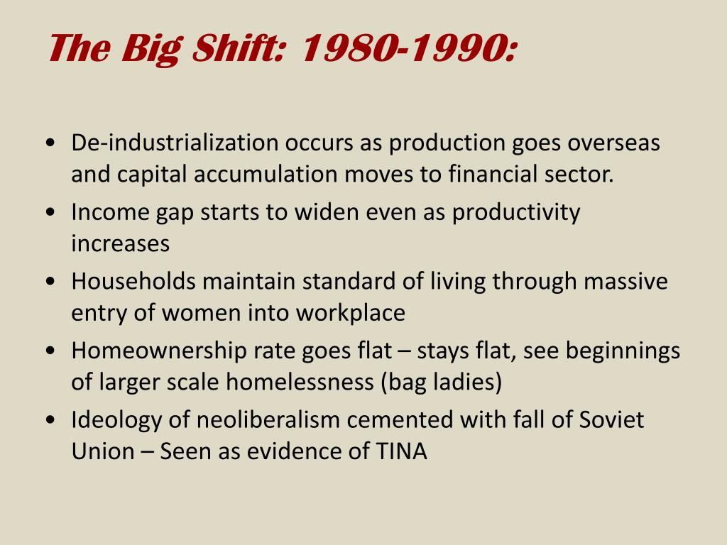The Big Shift: 1980-1990: