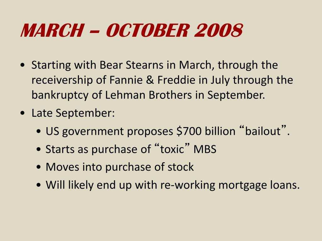 MARCH – OCTOBER 2008
