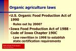 organic agriculture laws