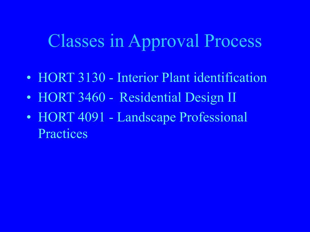 Classes in Approval Process
