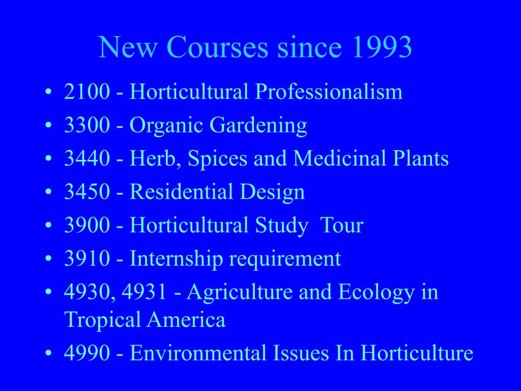 New Courses since 1993