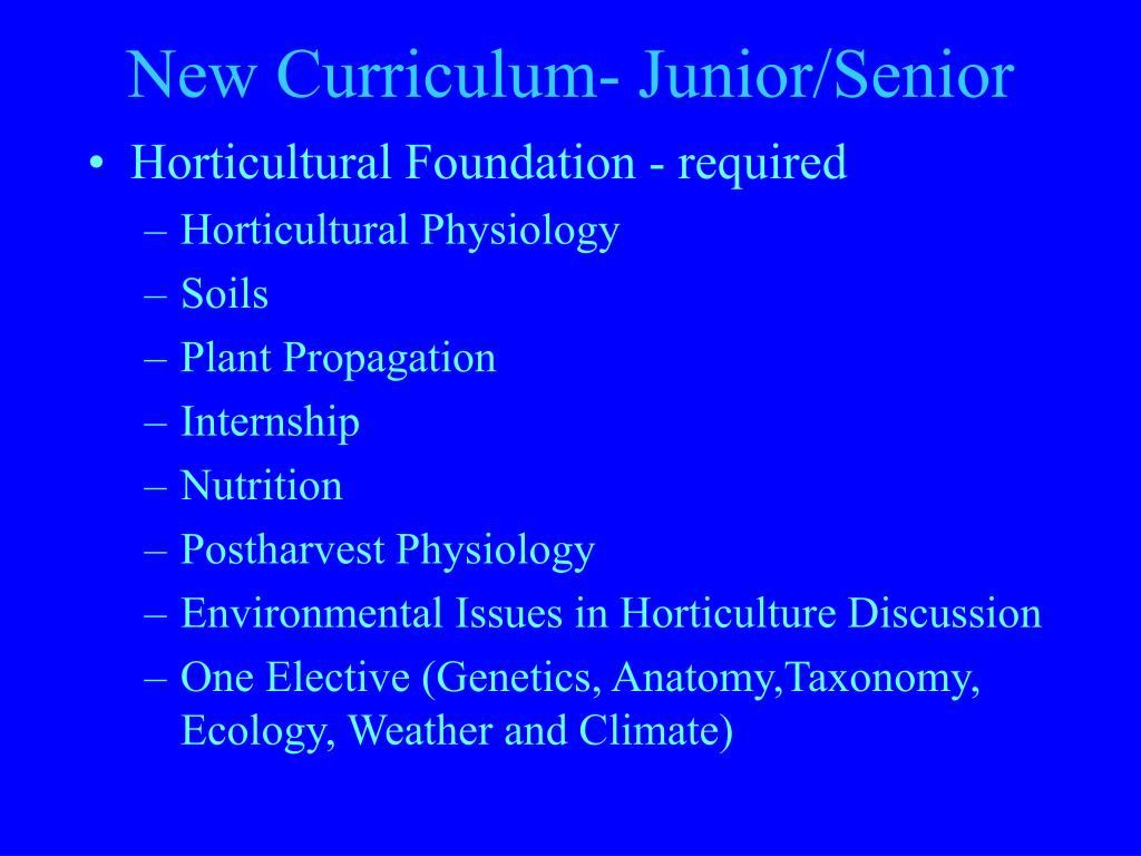 New Curriculum- Junior/Senior