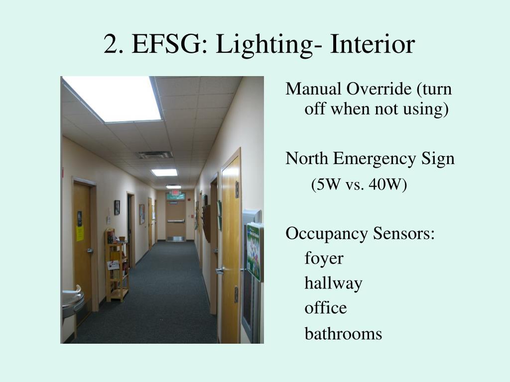 2. EFSG: Lighting- Interior