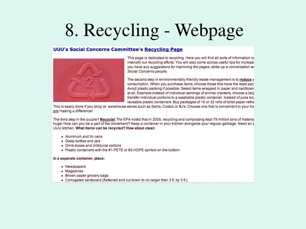 8. Recycling - Webpage
