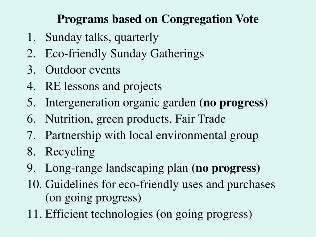 Programs based on Congregation Vote